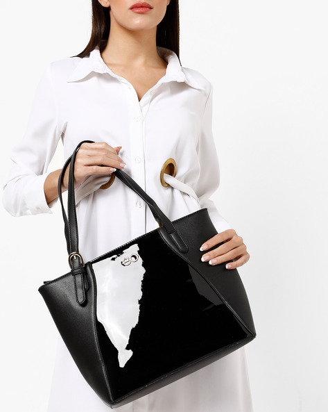 Panelled Tote With Zip Closure By E2O ( Black )