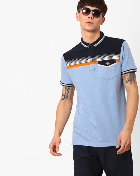 Polo T-shirt With Contrast Yoke By Fort Collins ( Sblue )