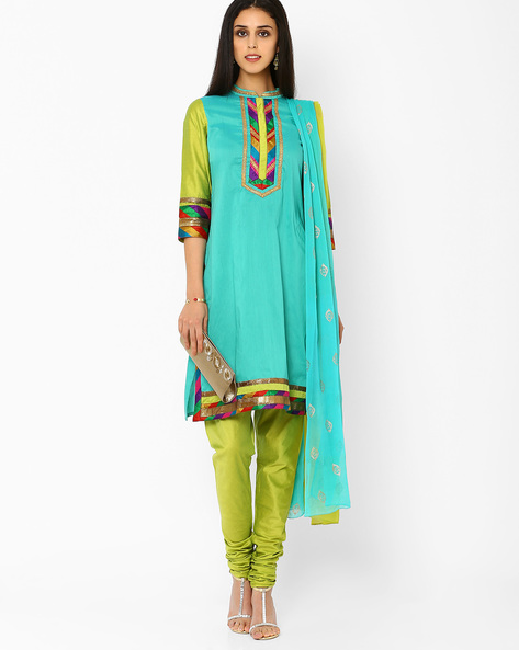 Churidar Kurta With Dupatta By AJIO ( Lgtgreen )