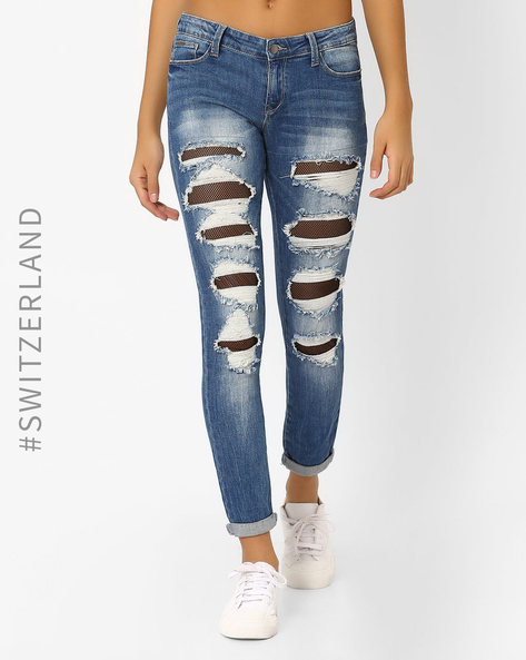 Heavily Distressed Jeans With Net Panels By TALLY WEiJL ( Blue )