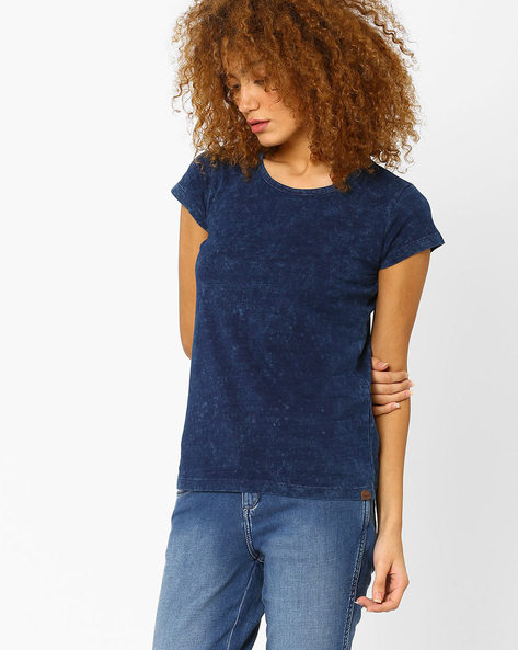 Crew-Neck Cotton T-shirt By WRANGLER ( Blue )