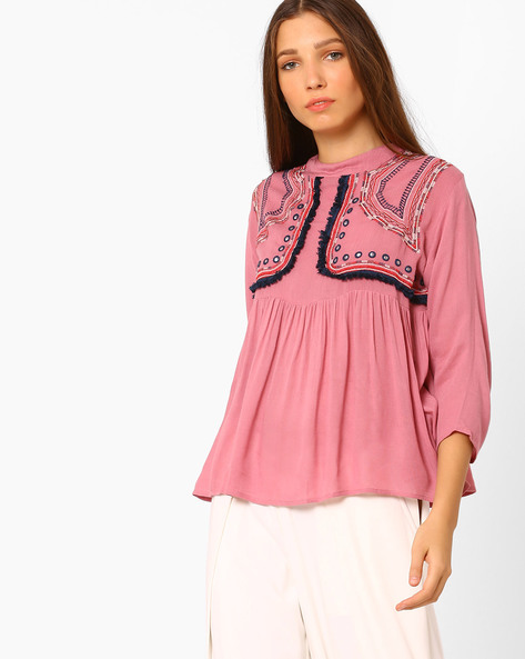 High-Neck Top With Embroidery By Rena Love ( Pink )