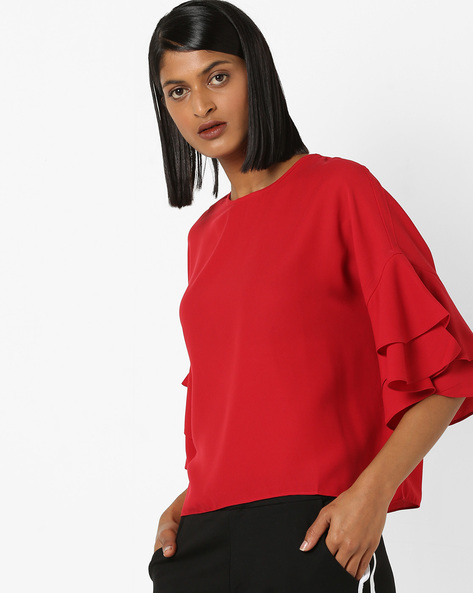 Top With Layered Drop-Shoulder Sleeves By 20Dresses ( Red )