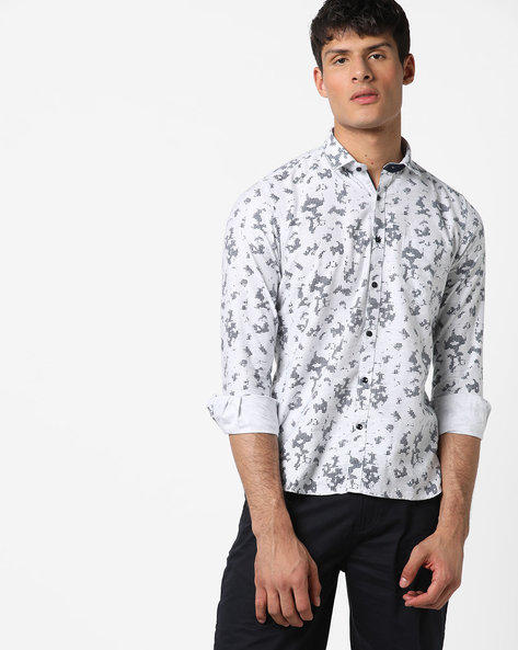 Printed Shirt With Patch Pocket By Killer ( Grey )