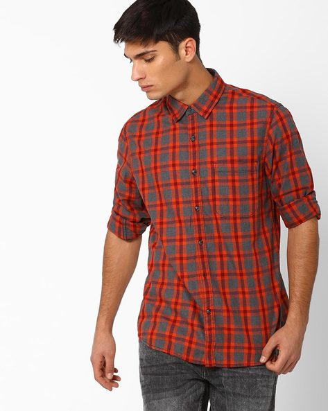 Yarn-Dyed Regular Fit Checked Shirt By AJIO ( Orange )