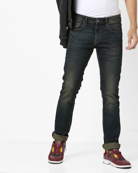 Slim Fit Lightly Washed Distressed Jeans By Pepe Jeans ( Vintage )