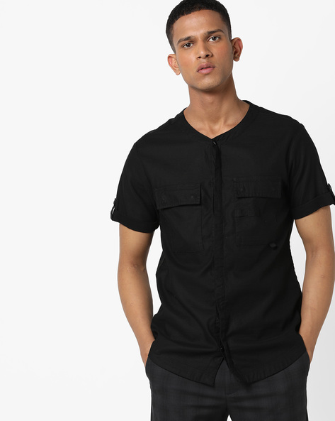 Slim Fit Shirt With Flap Pockets By AJIO ( Black )