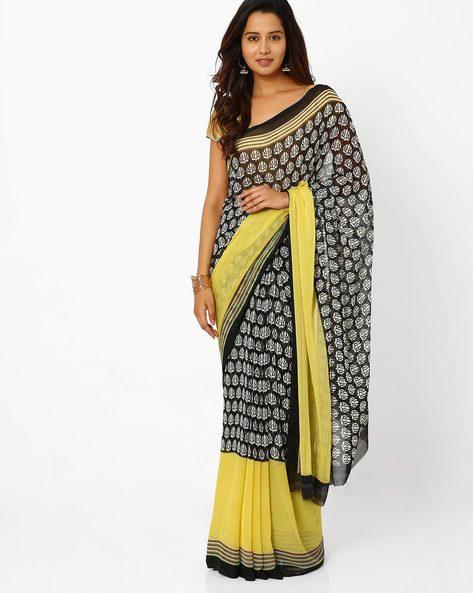Printed Chiffon Saree By Vaamsi ( Yellow )