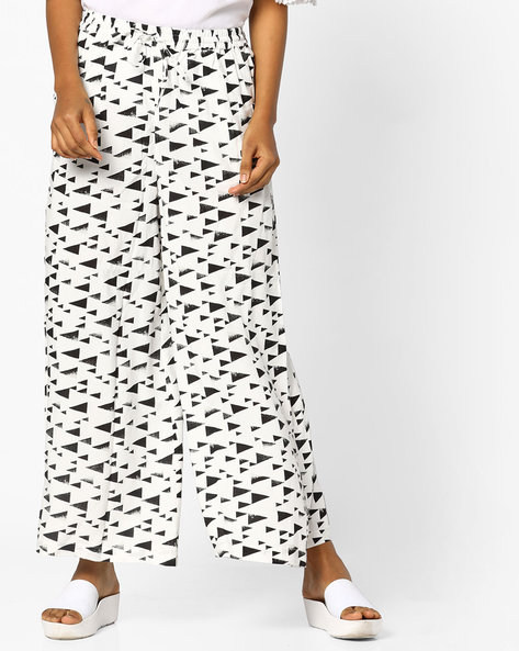 Geometric Print Palazzos By PE IW Casual ( Offwhite )