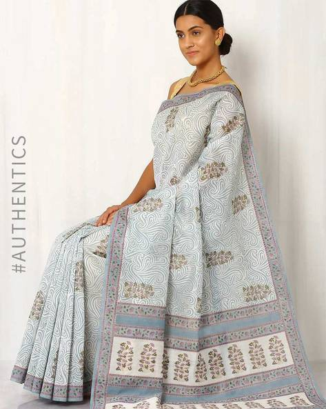 Handblock Print Chanderi Saree By Indie Picks ( Grey )