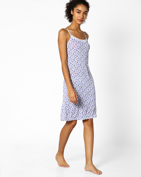 Printed Strappy Lounge Dress By Strings ( White )
