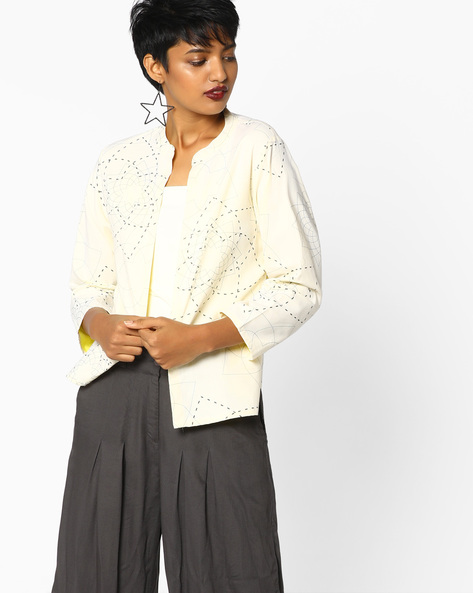 Printed Open-Front Jacket By AVAASA WORKWEAR ( White )