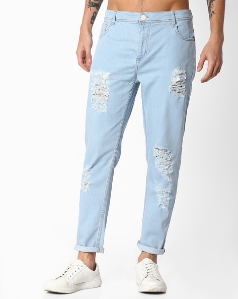 Distressed Slim Fit Jeans By ADAMO LONDON ( Blue )