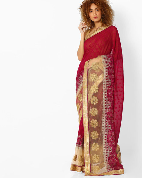 Panelled Saree With Floral Embroidery By Majestic Silk ( Beige )