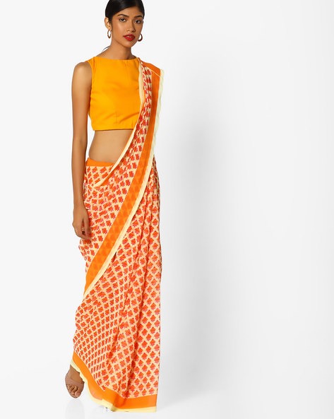 Floral Print Saree With Contrast Border By Arissa ( Orange )