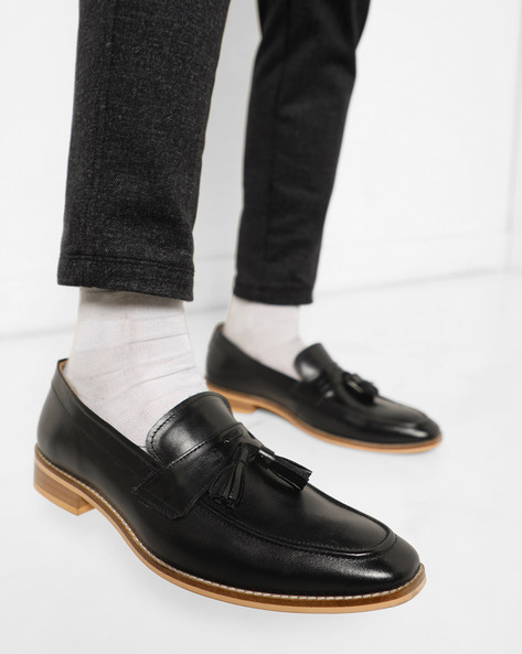 Genuine Leather Loafers With Tassels By Acuto ( Black )