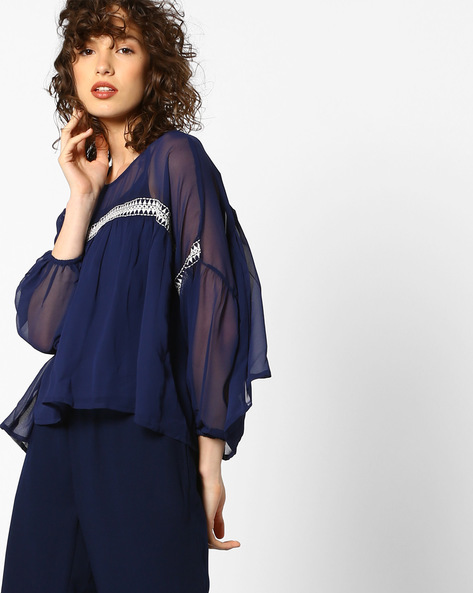 Flared Top With Embroidery By AJIO ( Navyblue )
