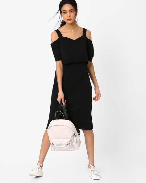 Cold-Shoulder Popover Dress By AJIO ( Black )