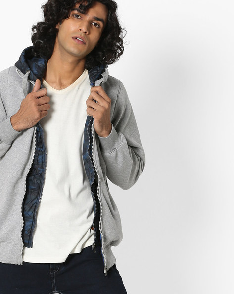 Hooded Layered Sweatshirt With Zip Front By Fort Collins ( Grey )