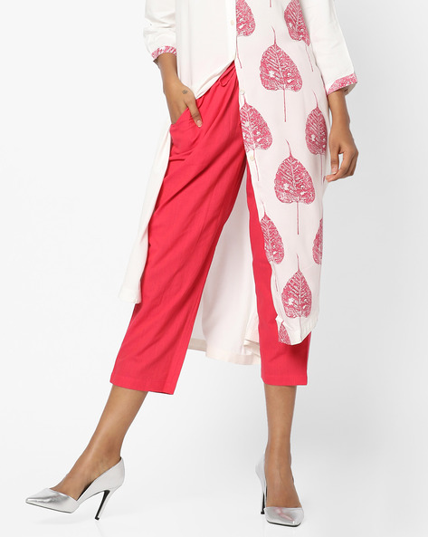 Calf-Length Pants With Drawstring Fastening By Project Eve IW Casual ( Pink )