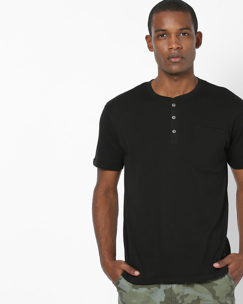 Henley T-shirt With Chest Pocket By DNMX ( Black )
