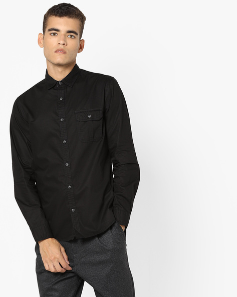Shirt With Buttoned Flap Pocket By AJIO ( Black )