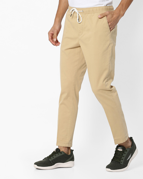 Woven Trousers With Drawstring Waist By AJIO ( Beige )