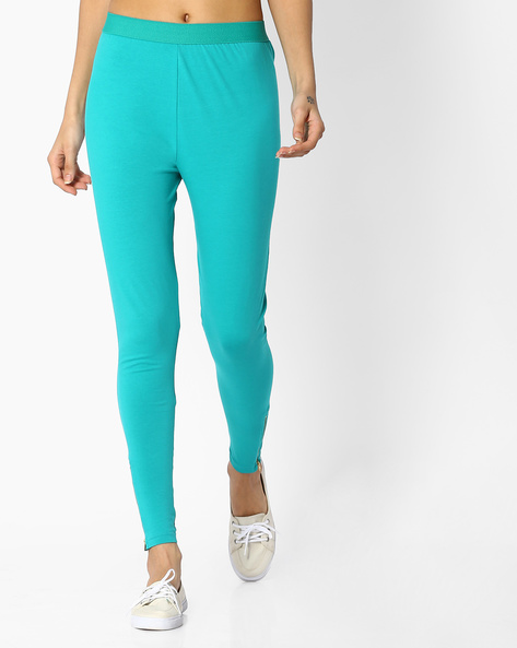 Leggings With Ankle Zips By FUSION ( Turquoise )