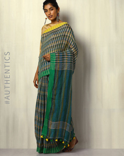 Handloom Bengal Pure Linen Checked Saree With Tassels By Indie Picks ( Multicolour ) - 460107175001