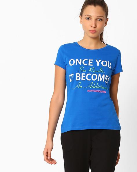 Graphic Print Crew-Neck T-shirt By AJIO ( Blue )