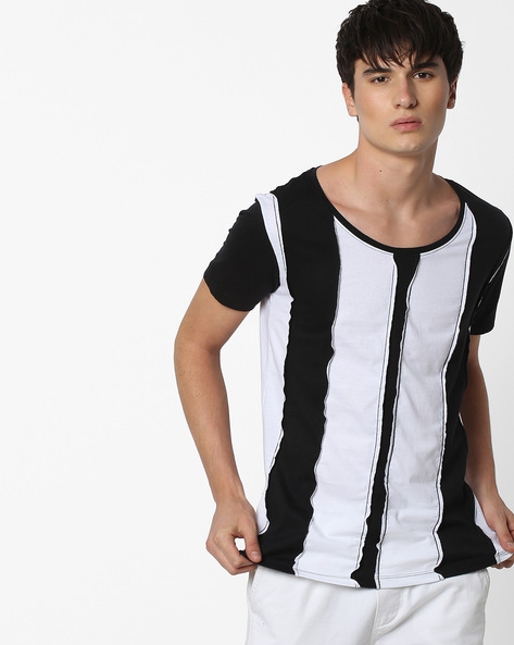 Panelled Slim Fit Striped T-shirt By Blue Saint ( Multi )