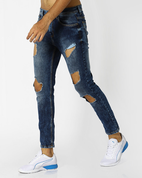 Heavily-Distressed Slim Fit Jeans By ADAMO LONDON ( Blue ) - 460073188001