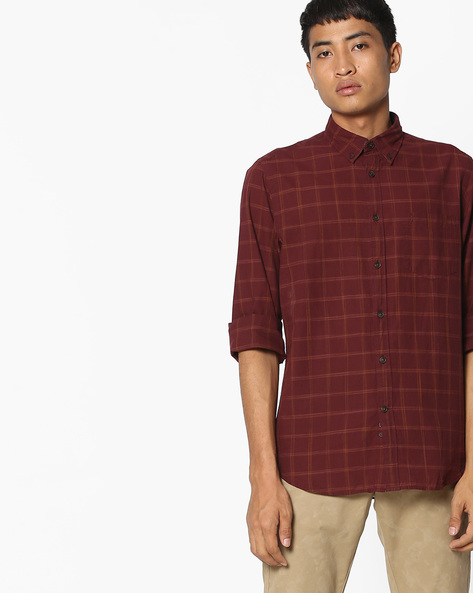 Slim Fit Checked Shirt With Button-Down Collar By INDIAN TERRAIN ( Burgundy )