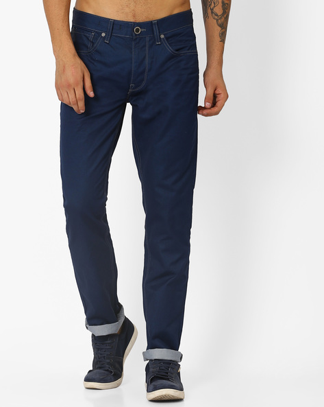 Mid-Rise Skinny Jeans By VOI JEANS ( Darkblue )