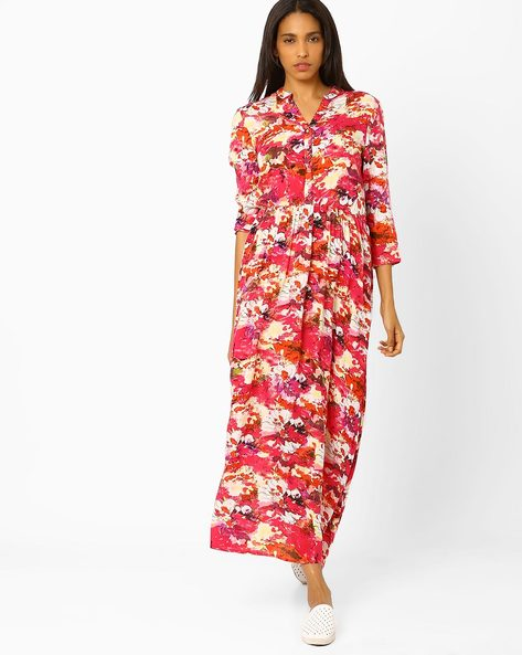 Floral Print Maxi Dress By The Vanca ( Red )