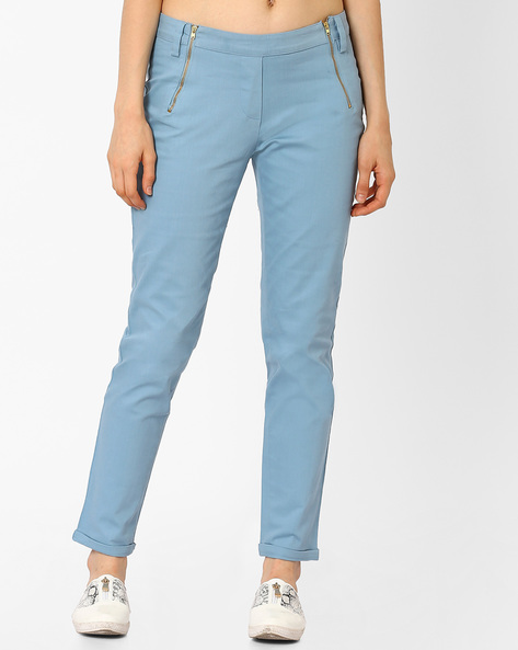 Low-Rise Ankle-Length Trousers By AJIO ( Lightblue )
