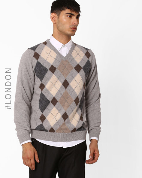 Argyle Knit Woollen Sweater By Marks & Spencer ( Natural )