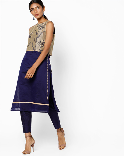 Chanderi Sleeveless Kurta With Pants By AVAASA SET ( Navy )