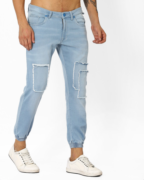 Slim Fit Jogger Jeans With Patch Detail By Blue Saint ( Ltblue )