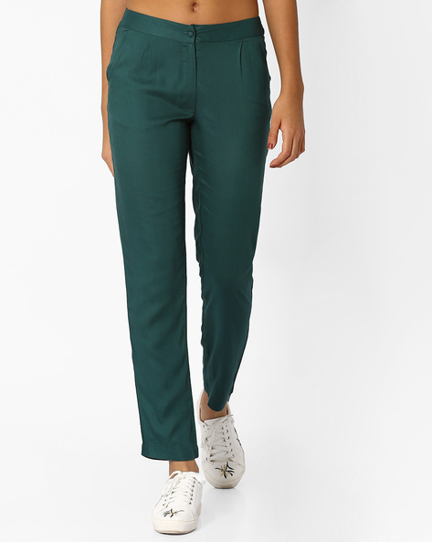 Pleated Straight Fit Trousers By AJIO ( Blue )