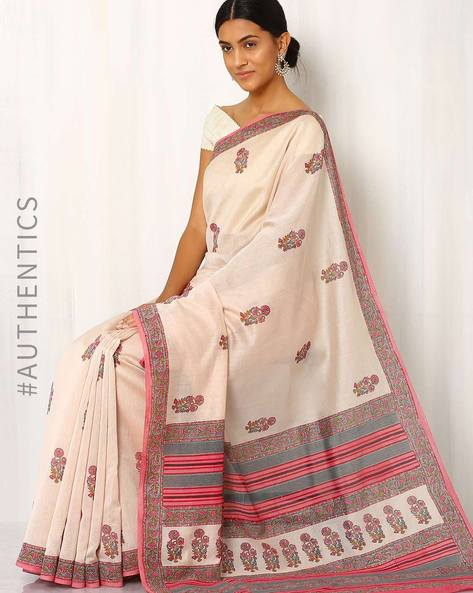 Hand-Block Print Chanderi Saree By Indie Picks ( Multi )