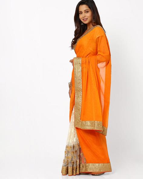 Embroidered Half & Half Saree By Viva N Diva ( Orange )