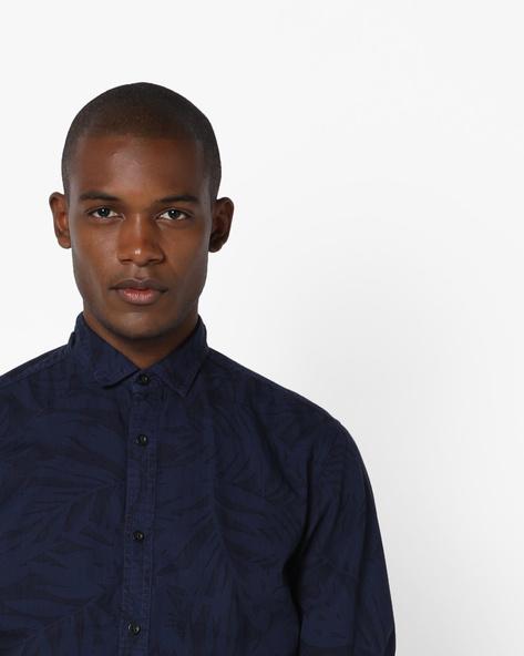 Tropical Print Slim Fit Shirt By AJIO ( Dkblue )