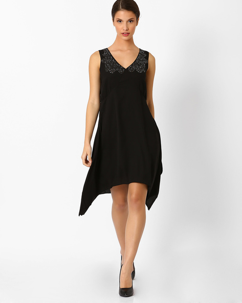 Swing Dress With Sequinned Yoke By AJIO ( Black )