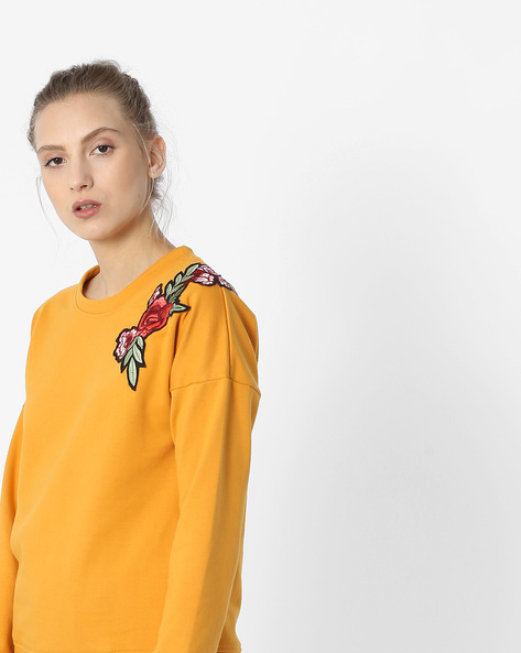 Crew-Neck Sweatshirt With Printed Appliqué By ANONYMOUS CO ( Yellow )