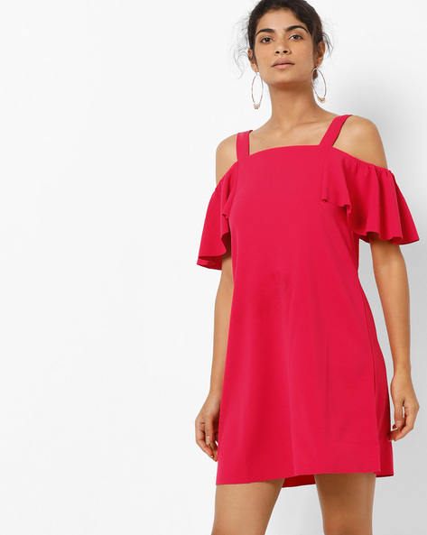 Cold-Shoulder Dress With Ruffles By Only ( Pink )