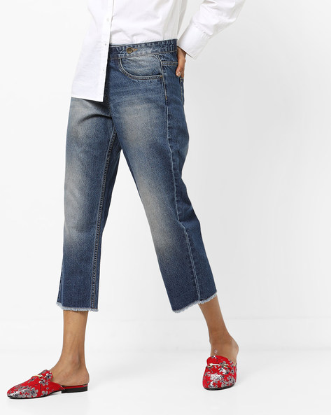 Mid-Wash Distressed Jeans By AJIO ( Blue )