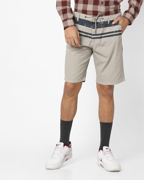 Flat-Front Shorts With Tie-Up Waist By AJIO ( Khaki )