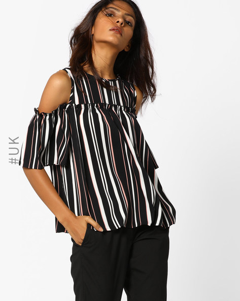 Striped Cold-Shoulder Top By INFLUENCE ( Black )