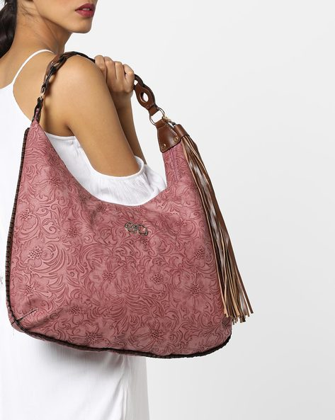 Embossed Floral Patterned Hobo Bag By E2O ( Maroon )